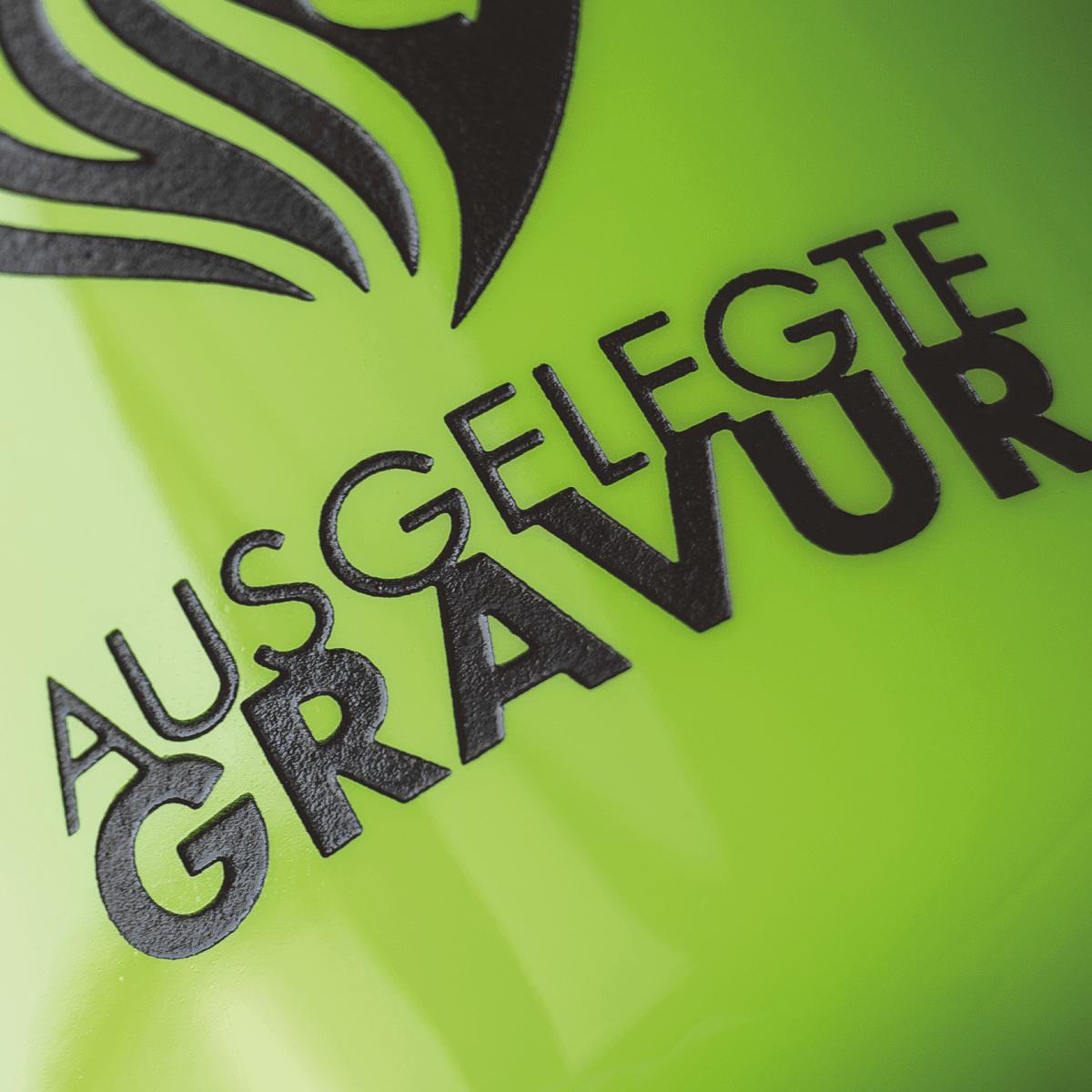 Farbig ausgelegte Gravur_Löwe grün gespritzt b